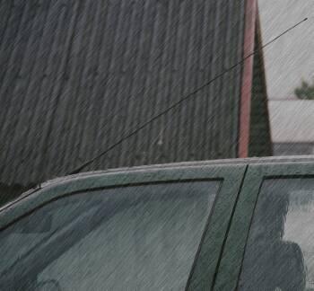 aankomst in de regen